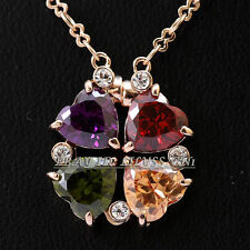 Fashion Simulated Gemstone Hearts Luck Clover Necklace Pendant 18KGP CZ Crystal