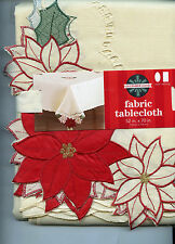 Ivory with Red Poinsettia Cutwork Corners Tablecloth Choose size