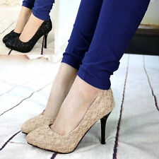 New Women Lady Lace Stiletto Pump Platform Pointed Toe Party High Heel Shoes
