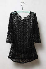 Anthropologie Harper Peplum Tunic In Black Org.$118.00 New With Tag!