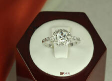 STERLING SILVER PRINCESS CZ ANNIVERSARY ENGAGEMENT RING WEDDING PAVE HALO RING ❤