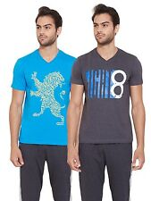 SDL by Sweet Dreams Sky blue Style Sail Tee- Pack Of 2 (S5ASDLMSPR562)