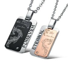 Stainless Steel FOREVER ETERNAL Lover Dog Tag Pendants Lingering Love Necklaces