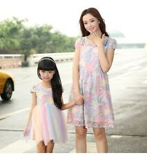 Summer FAMILY Floral Lace Dresses Mother Girl dress Kids Girls Party dresses
