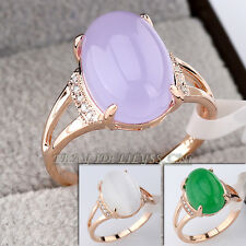 Fashion Simulated Gemstone Solitaire Ring 18KGP CZ Rhinestone Crystal Size5.5-9