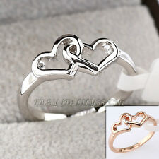 Fashion Love Hearts Band Ring 18KGP Size 5.5-8