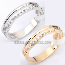 Micro Inlays Fashion Band Ring 18KGP CZ Rhinestone Crystal Size 5.5-8
