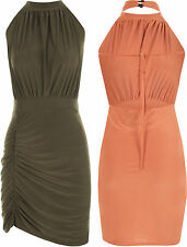 Womens Halter Neck Ruched Bodycon Open Backless Mini Short Ladies Party Dress