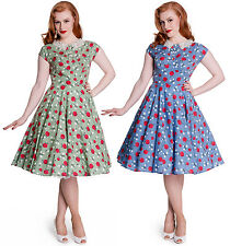 Hell Bunny Francine Floral Apple Print Party Dress 50s 40s Swing Vintage Wartime