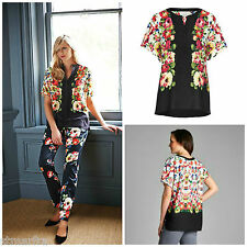 NEW LAURA ASHLEY GARDEN BLOUSE TOP TUNIC KAFTAN BLACK RED CREAM GREEN FLORAL