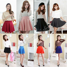 New Girls Candy Solid Color Cotton Blend Waist Stretch Pleated Skirt Mini Dress