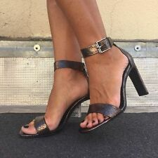 BNWT Genuine ZARA Sold out CHARCOAL LEATHER HIGH HEEL SANDALS WITH ANKLE STRAP