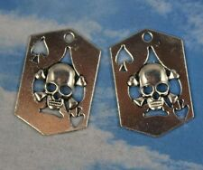 Free shipping 8/25pcS Retro Style spades skull alloy Charms Pendants 33x22mm