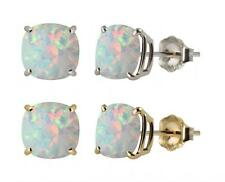 10k White or Yellow Gold 6mm Checkerboard Cushion Lab-Created Opal Stud Earrings