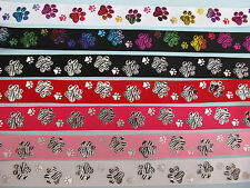"""Grosgrain Double Dog Paw Print Dog Collar Ribbon 7/8"""" 22mm **DIFFERENT COLOURS**"""