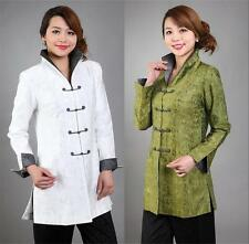 Charming Chinese Women's Silk jacket/coat Cheongsam green white Sz 8 10 12 14 16