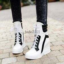 Womens Punk Multi-Color lace Up Wedge Mid Heel Sneaker Boots Ankle Boots SHoes
