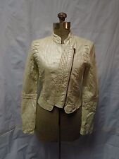 Anthropologie Flying Tomato Ivory/Pearl Faux Leather Moto Jacket Size Small NWOT