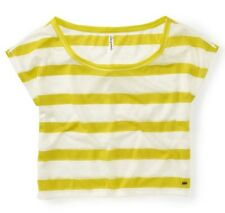 NEW Yellow/White Aeropostale Aero Womens Cropped Lace Stripe Dolman Tee Shirt L