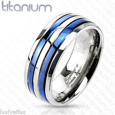 AWESOME MENS SOLID TITANIUM SILVER BLUE IP DOUBLE STRIPED WEDDING BAND RING