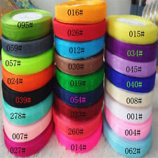 "50 Yards 3/8""10mm Satin Edge Sheer Organza Ribbon Bow Craft Wedding 25 color"