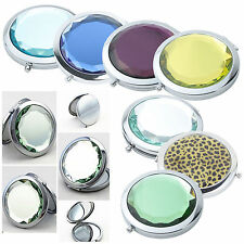 Beautiful Stainless Travel Compact Pocket Crystal Folding Makeup Mirror