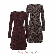 NEW WOMENS LADIES LEOPARD PRINT ROUND NECK LONG SLEEVE MIDI A-LINE SKATER DRESS