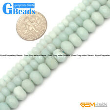 "Natural Amazonite Gemstone Faceted Rondelle Beads Free Shipping 15"" 3-18mm"