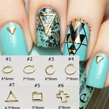 10Pcs/set Hollow Square Round Triangle Nail Art Crafts Charms Stud 3D Decoration