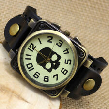 Retro Cool Skull Punk PU Leather Band Bracelet Quartz Wrist Watch Men Women Gift