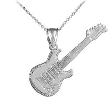 Sterling Silver Electric Guitar Pendant Necklace