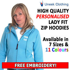 Personalised Ladies Fit Embroidered Zip Up Hoodies, Customised Uneek UC505 Hoody