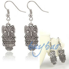 Punk Retro Owl Tibetan Silver Plated Earring Eardrop Black Leather Cord Necklace