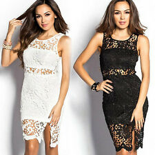 Sexy Women Crochet Open Back Hollow Bodycon Slit Eve Cocktail Party Prom Dress C