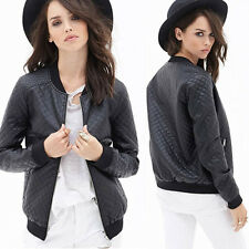 Womens Girl Vtg Leather Jacket Baseball Biker Bomber Outwear Casual Club Coats C