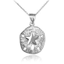 925 Sterling Silver Textured Sand Dollar Pendant Necklace