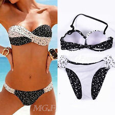 New Bandeau Bikini Swimwear Set - Black & White Polka Dot Padded Push Up Beach