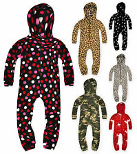 Kids Unisex Printed Onesie Boys Girls Hooded All In One Pyjamas Ages 7-13 Years