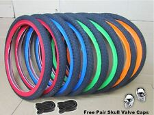 """NEW Pair BMX Bike Bicycle 20"""" x 1.95 Freestyle Colour Sidewall Tyres Inner Tubes"""