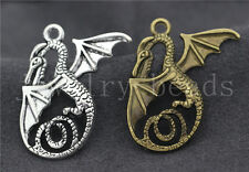 3/10/50pcs Antique Silver Exquisite Wings dragon Jewelry Charms Pendant 37x29mm
