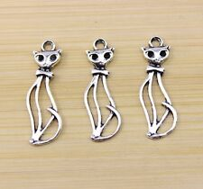 20/40/80 pcs Retro style Very lovely Hollow out cat alloy charm pendant 32x10 mm