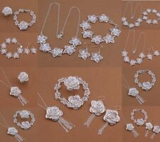 NEW Fashion Jewelry solid 925Silver Necklace bracelet Earrings Ring Set+giftbox