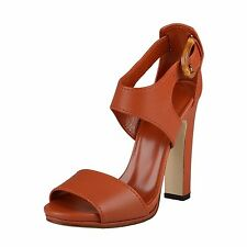 GUCCI 338712 Leather Rust Orange Sandals with Heel Lifford Shoes, open NIB! $750
