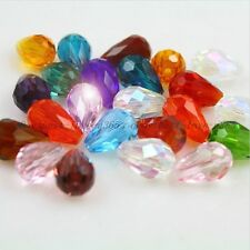 Wholesale 20Pcs Faceted Teardrop Czech Crystal Loose Spacer Glass Beads 11MM