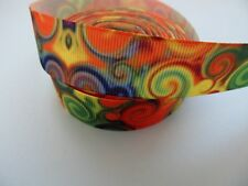"Grosgrain Water Marble Effect Swirl Ribbon 7/8"" 22mm"