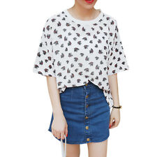 Women Round Neck Dolman Short Sleeves Butterflies Pattern Basic Tee