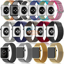 Stainless Magnetic Strap Woven Nylon Leather Loop Watch Band for Apple Watch