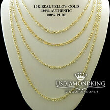 "Men's Women's 2.5mm 100% Real 10k Yellow Gold Figaro Link Chain Necklace 18""~24"""