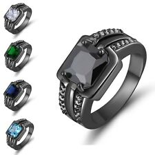 Wedding Mens Size 8,9,10,11 Sapphire Aquamarine Emerald Black Gold Filled Rings