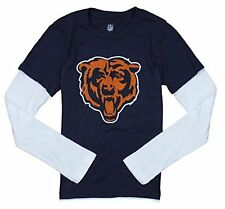 NFL Youth Girls Chicago Bears Form Fitted Long Sleeve Layered Shirt, Navy